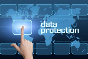 Data Protection concept with interface and world map on blue background